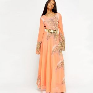 StylEase - Animal Print Maxi Dress Coral