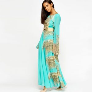 StylEase - Animal Print Maxi Dress Mint