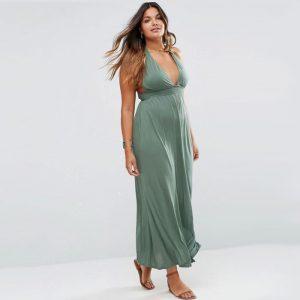 Versatile Ruched Halter Neck Maxi Dress