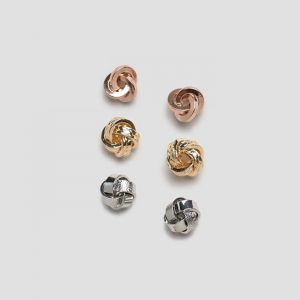 River Island Versatile Earring Pack In Rose Gold,Yellow Gold & Silver Knot