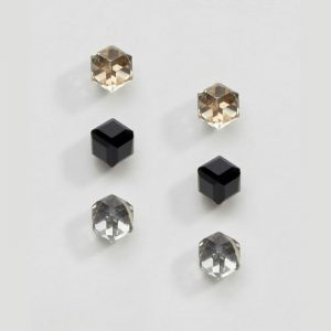 Cube Crystal Earring Set (Contains 3 pairs-Bronze, Black & Gunmetal Grey)
