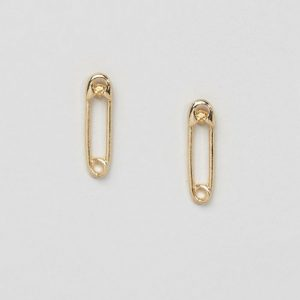 Yellow Gold Safety Pin Earrings