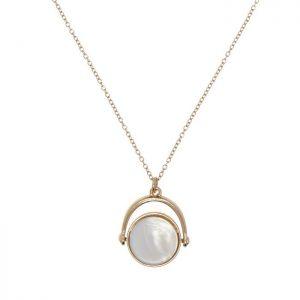 River Island Semi Precious Stone Necklace (Spin Pendant, Blue & White Shell)