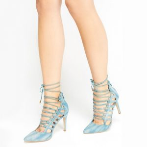 Acid Washed Blue Denim,Cut Out ,Lace Up Heels