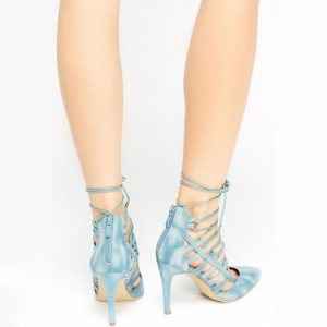 StylEase - Cut Out Lace Up Denim Heels