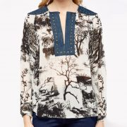StylEase - Denim Contrast Printed Top