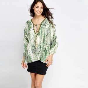 Silk Touch Reptile Print Kaftan with Gold Detailing & Tassels (Available in Intense Sapphire Blue and White & Olive and White)