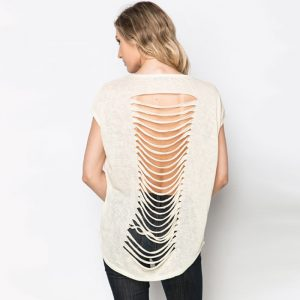 StylEase - Shredded Back Stud Top