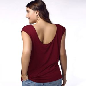 Berry-Licious Criss Cross Plunging Neck T-Shirt