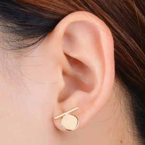 StylEase - Gold Bar Disc Earrings