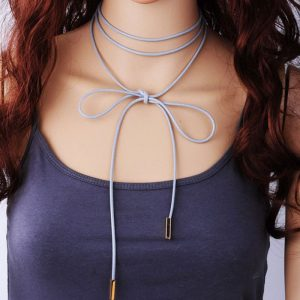 StylEase - Light Grey Leatherette Choker